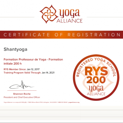 Certificat Yoga Alliance Shantyoga